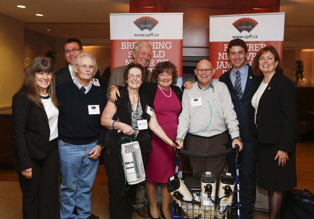 In this picture from left to right: MPP Sophie Kiwala, MPP Bill Walker, Roger Chandler, Robert Davidson, Barbara Barr, MPP Kathryn McGarry, Reg Beaudette, MPP Yvan Baker and MPP Eleanor McMahon